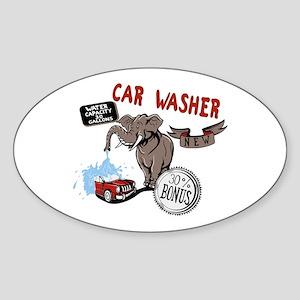 Car Wash Elephant Sticker (Oval)