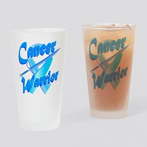 Cancer Warrior Blue Drinking Glass