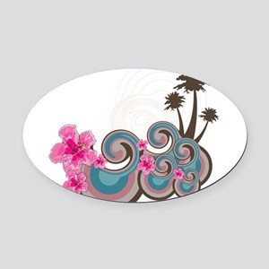 Tropical Wave Oval Car Magnet