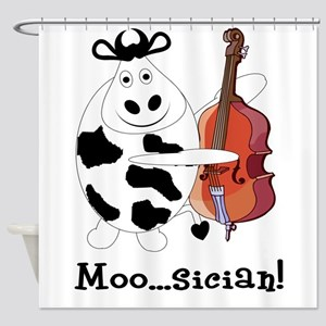 Cow Moosician Shower Curtain