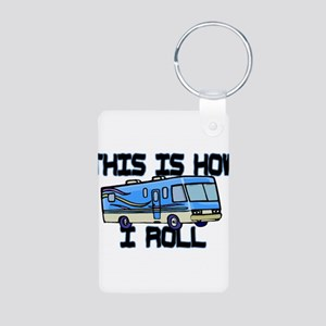 How I Roll RV Aluminum Photo Keychain