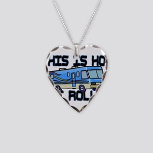 How I Roll RV Necklace Heart Charm