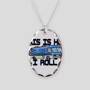How I Roll RV Necklace Oval Charm