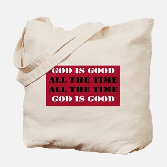 God is Good, All the Time - Red Tote Bag