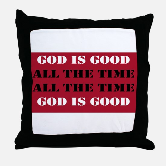 God is Good, All the Time - Red Throw Pillow