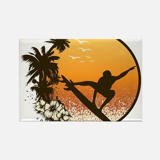 Tropics Surf Rectangle Magnet