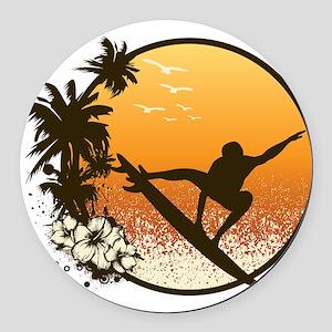 Tropics Surf Round Car Magnet