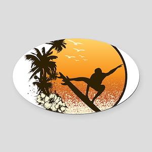 Tropics Surf Oval Car Magnet