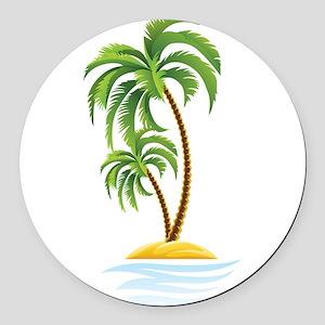 Palm Tree Round Car Magnet