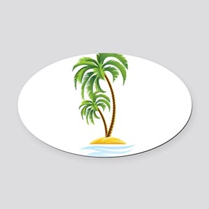 Palm Tree Oval Car Magnet
