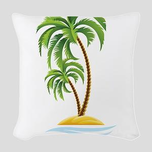 Palm Tree Woven Throw Pillow
