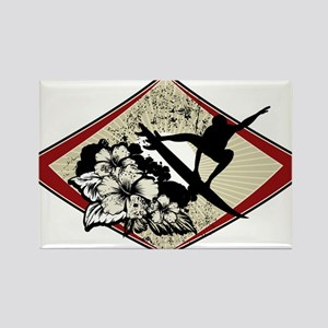 Hibiscus Surf Rectangle Magnet
