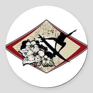 Hibiscus Surf Round Car Magnet