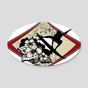 Hibiscus Surf Oval Car Magnet