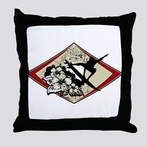 Hibiscus Surf Throw Pillow