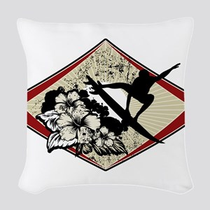 Hibiscus Surf Woven Throw Pillow