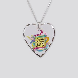 F Up Cancer Necklace Heart Charm