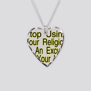 Stop Using Religion Necklace Heart Charm
