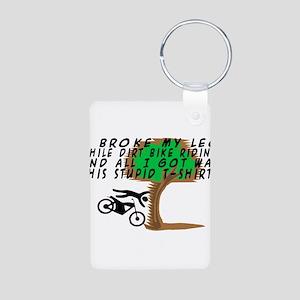 Dirt Bike Into Tree Aluminum Photo Keychain
