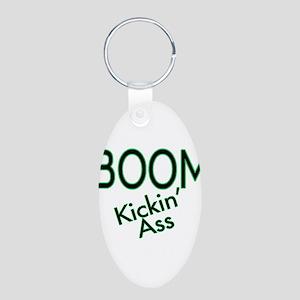 Boom Kickin' Ass Aluminum Oval Keychain