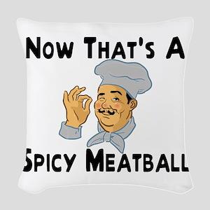 Spicy Meatball Woven Throw Pillow