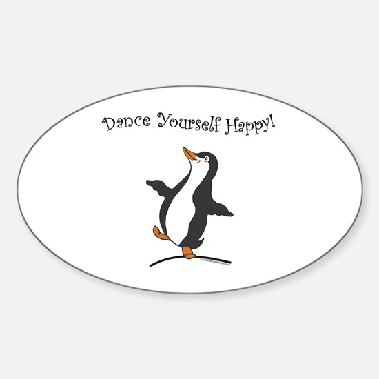Dancing Penguin Oval Decal