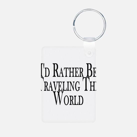 Rather Travel The World Aluminum Photo Keychain