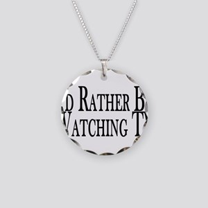Rather Watch TV Necklace Circle Charm