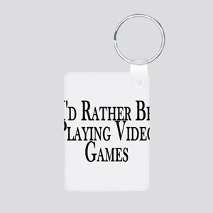 Rather Play Video Games Aluminum Photo Keychain