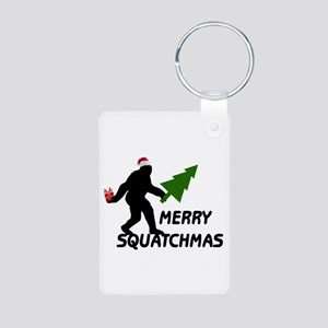 Merry Squatchmas Aluminum Photo Keychain