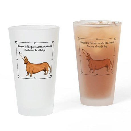 Old dog Love Drinking Glass