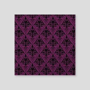 "Black & Alyssum Damask #29 Square Sticker 3"" x 3"""