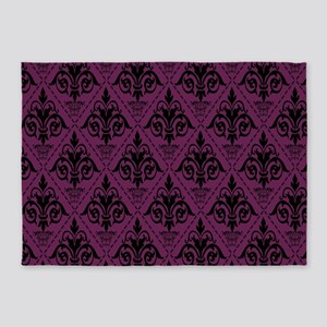 Black & Alyssum Damask #29 5'x7'Area Rug