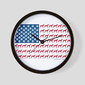 Patriotic Greyhounds Wall Clock