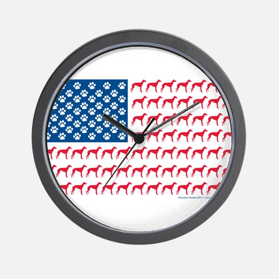 Patriotic Greyhounds Wall Clock