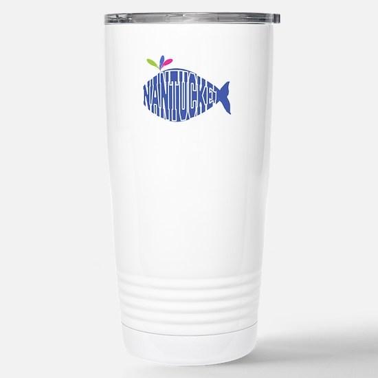 Cute Nantucket Whale Stainless Steel Travel Mug