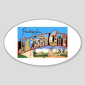 Jersey City New Jersey Greetings Oval Sticker