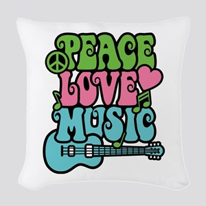 Peace-Love-Music Woven Throw Pillow