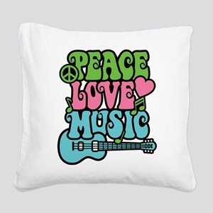 Peace-Love-Music Square Canvas Pillow