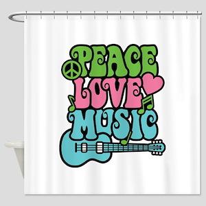 Peace-Love-Music Shower Curtain