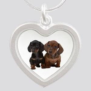 Dachshunds Silver Heart Necklace