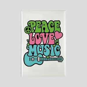 Peace-Love-Music Rectangle Magnet