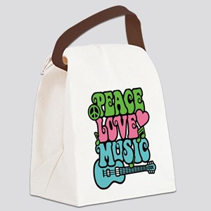 Peace-Love-Music Canvas Lunch Bag