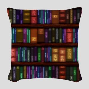 Old Bookshelves Woven Throw Pillow