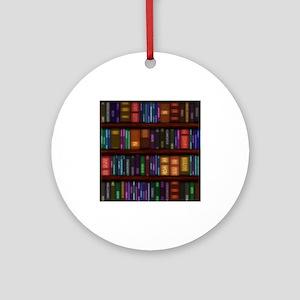Old Bookshelves Ornament (Round)