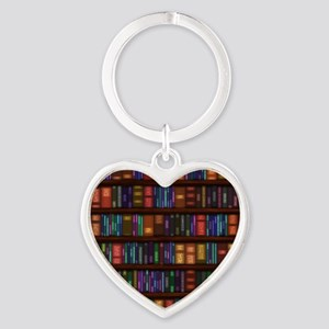 Old Bookshelves Heart Keychain