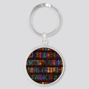 Old Bookshelves Round Keychain