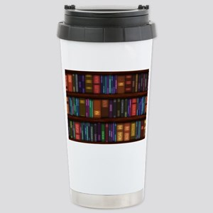 Old Bookshelves Stainless Steel Travel Mug