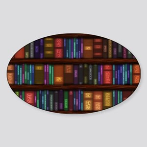 Old Bookshelves Sticker (Oval)