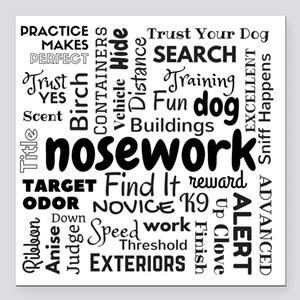 Fun With Nosework Words Square Car Magnet 3""
